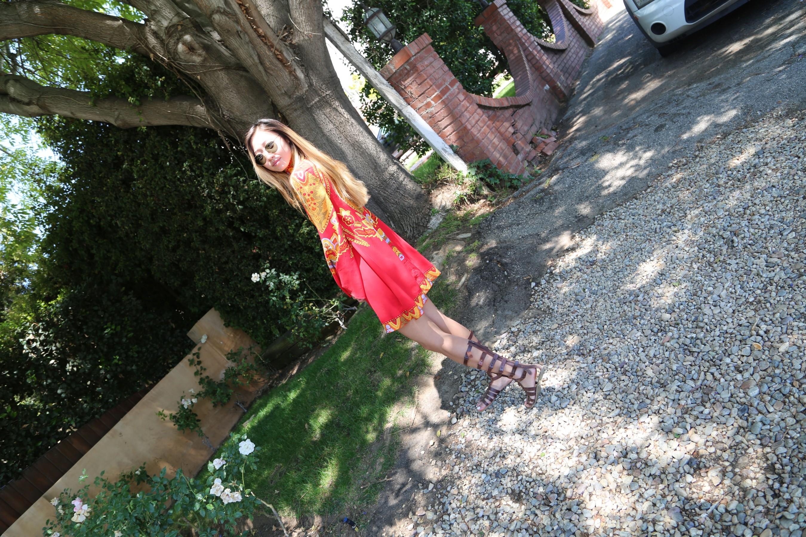 Red print dress