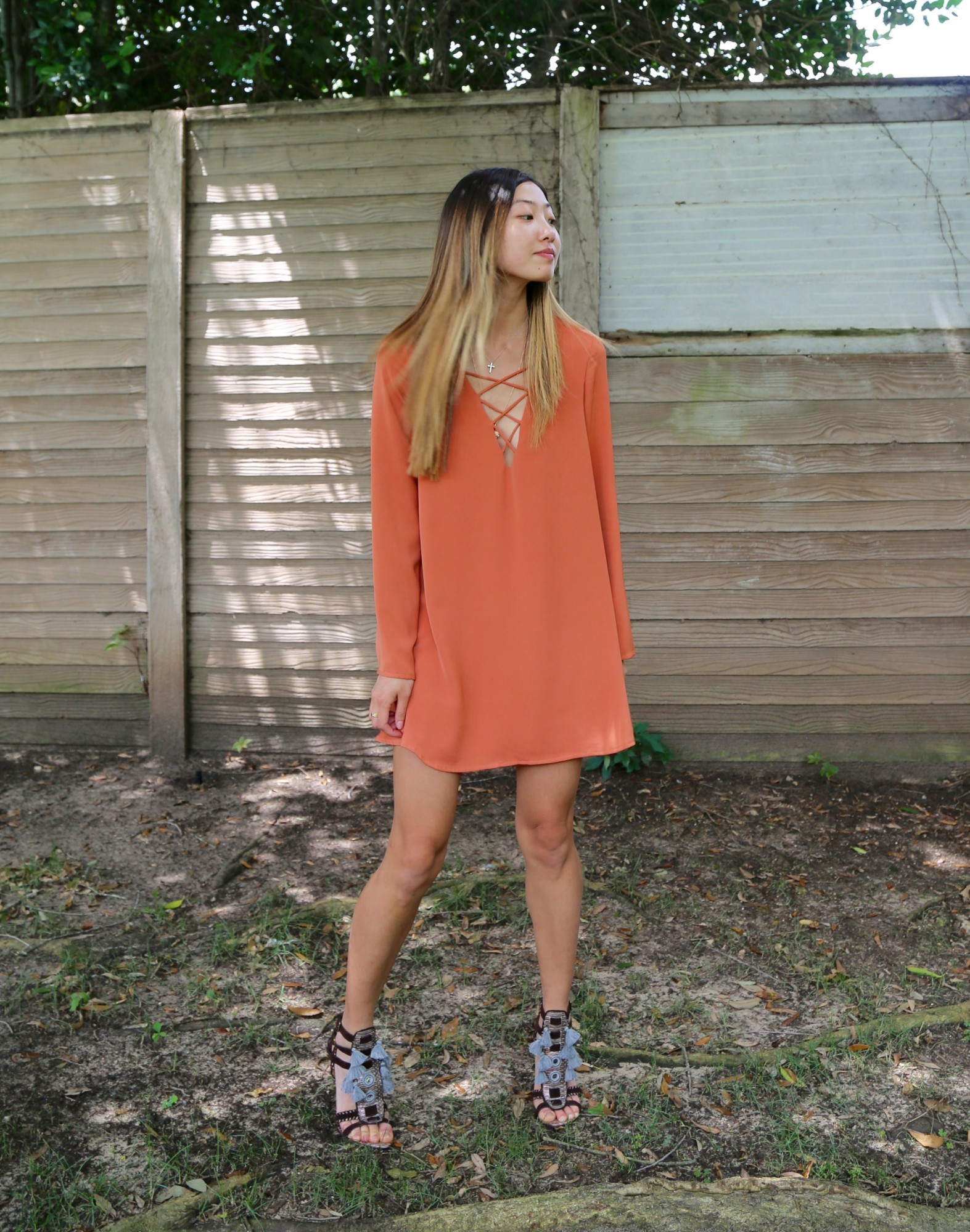 orange lace up dress