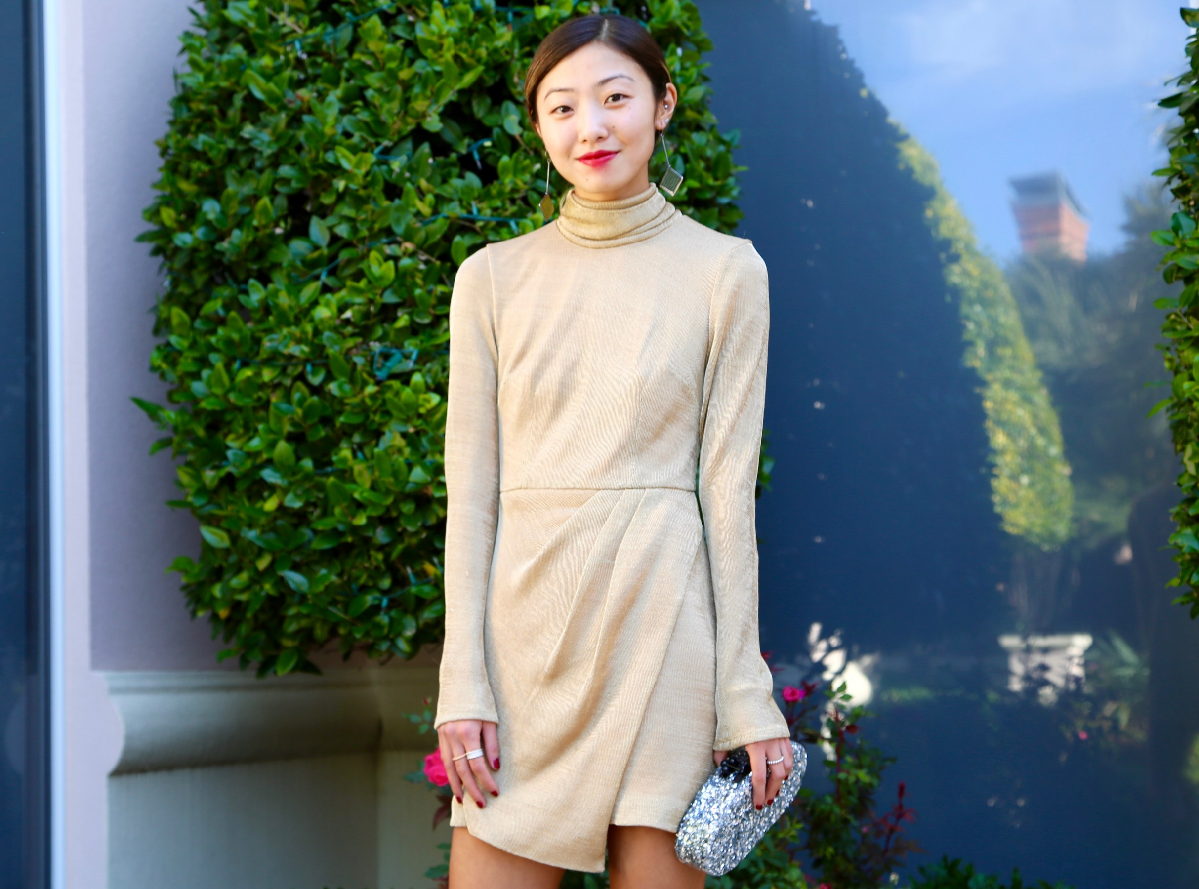 Gold turtleneck Dress2