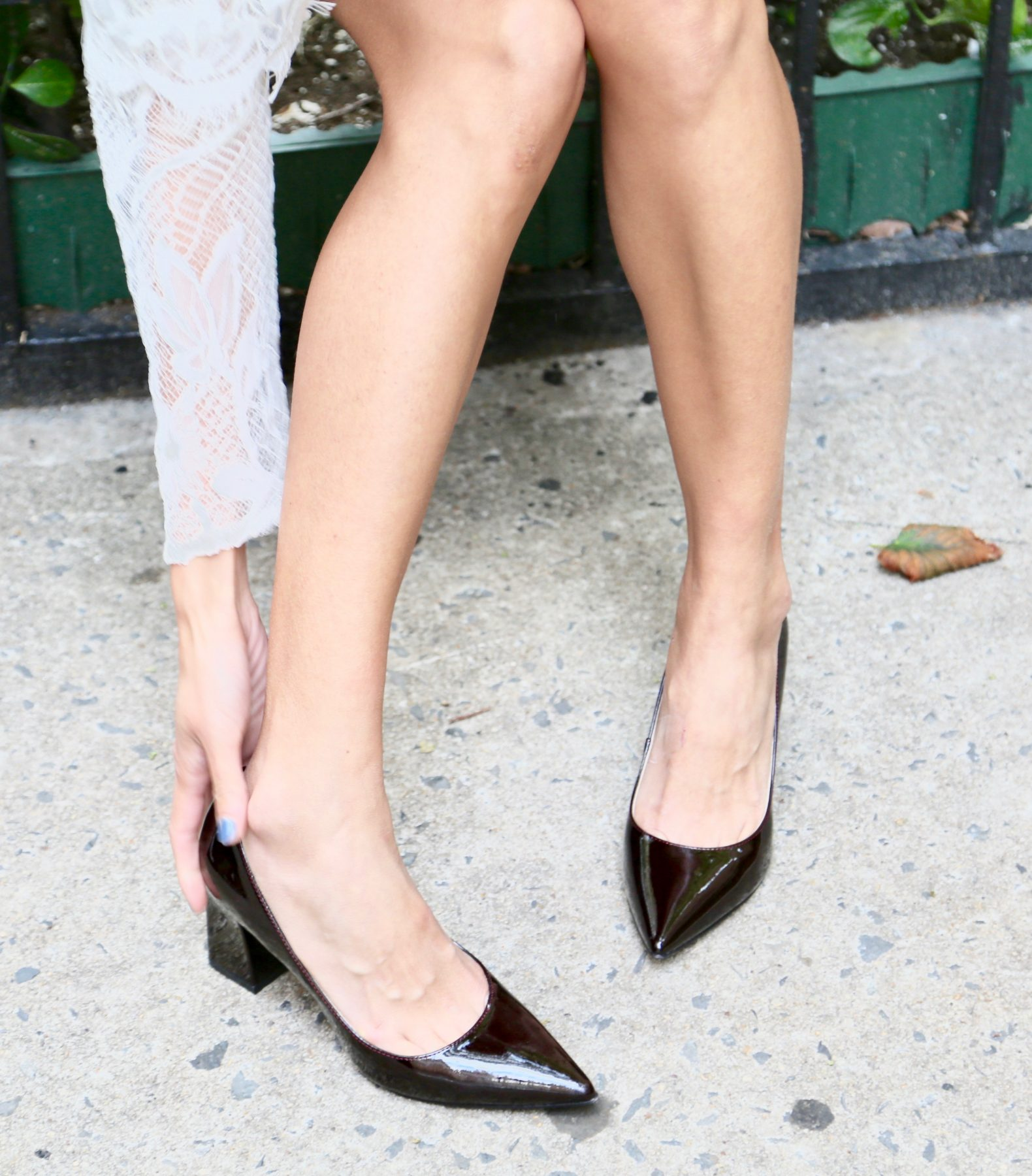 d744f797f7e I dressed up this look with the gorgeous Marc Fisher LTD Zala Block Heel  Pointy toe pump. They are a classic style but the dark red color adds a  modern ...